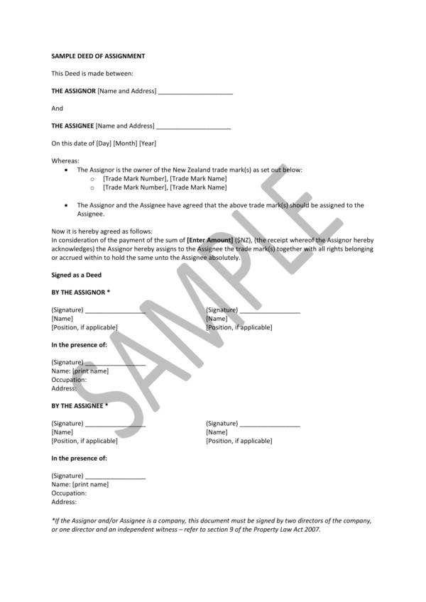 sample deed of assignment 1