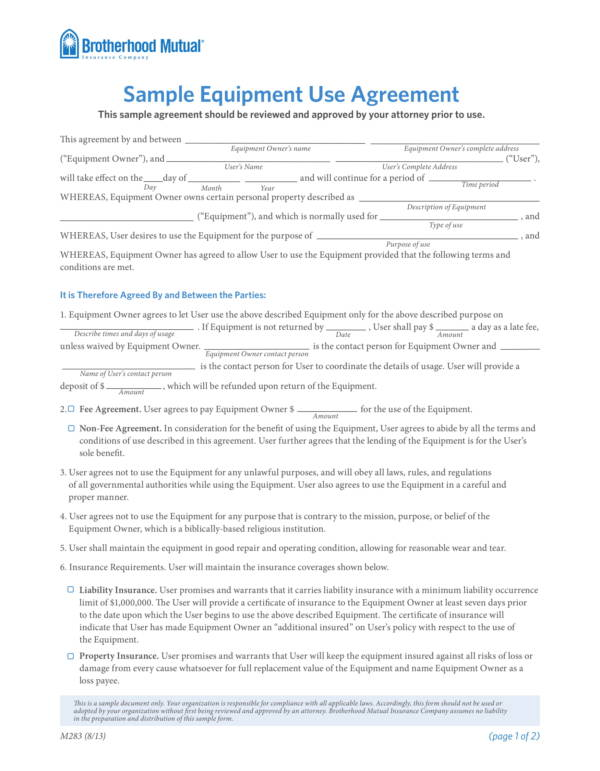 sample equipment use agreement template 1