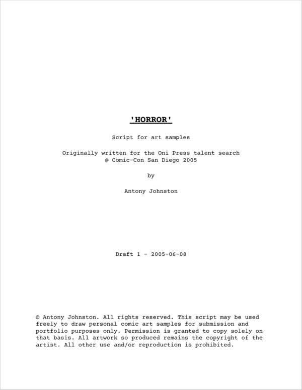 sample horror comic script