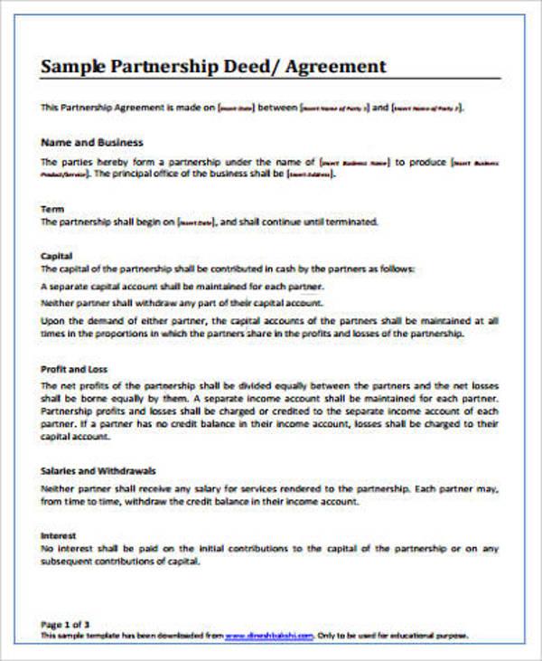 sample partnership deed agreement