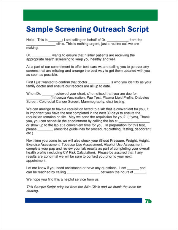sample screening outreach script