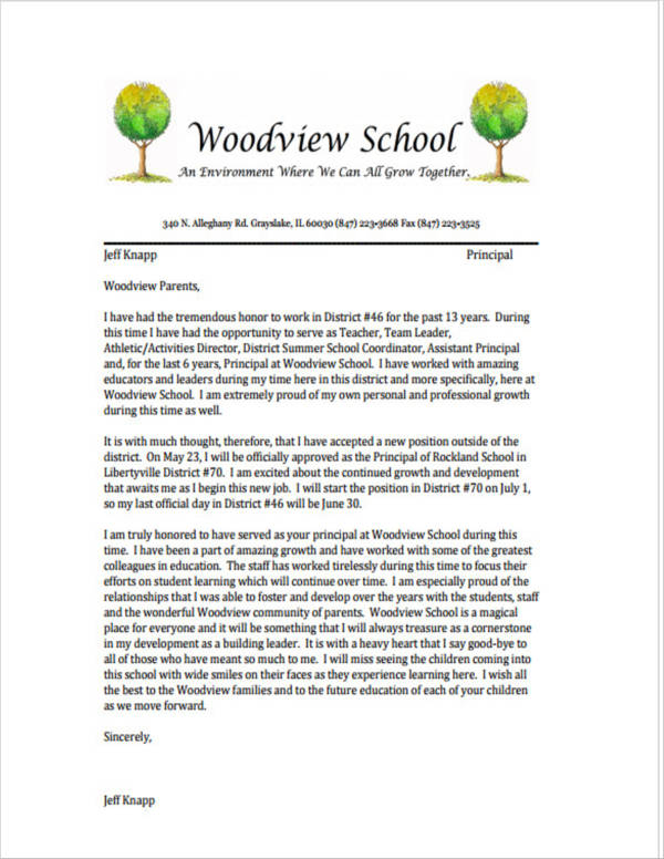 sample teacher resignation letter to families