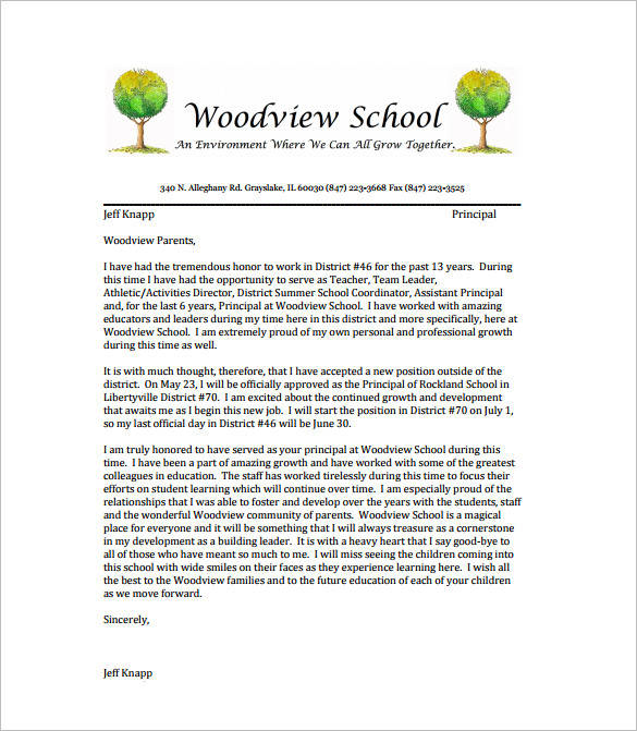 sample teacher resignation letter to families1