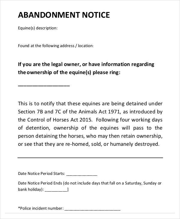 sample template for notice of abandonment