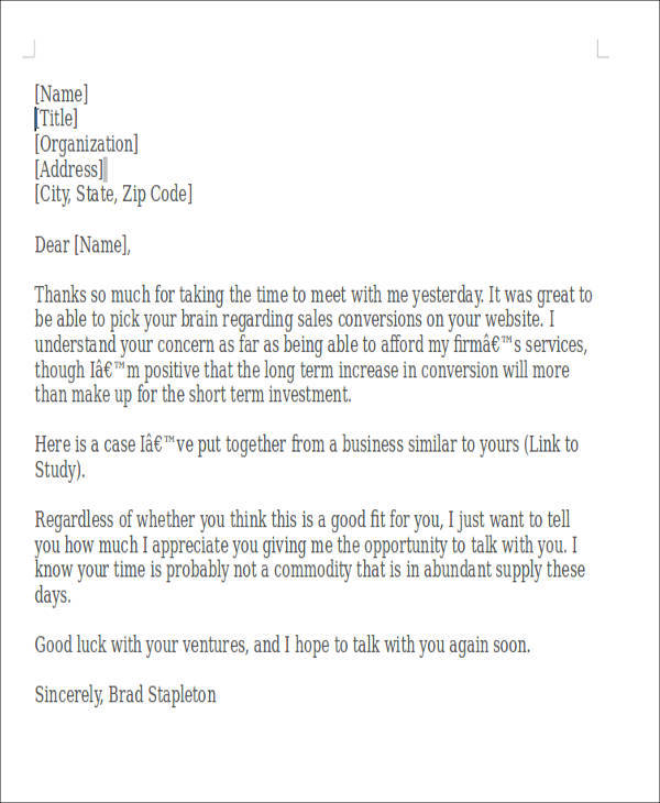 9 meeting thank you letter samples and templates pdf for Thank you for meeting email template