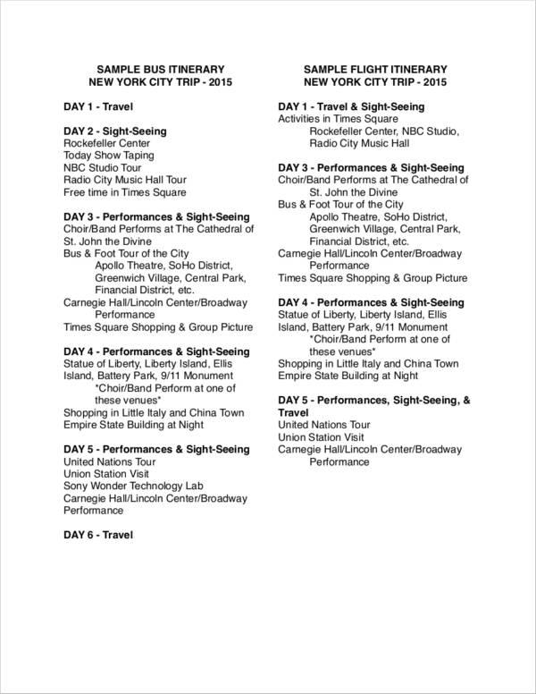 sample travel itinerary agenda