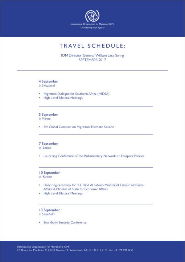sample travel schedule