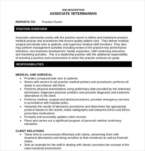 sample veterinarian associate job description