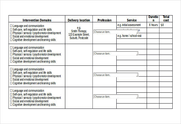 schedule template for service provider