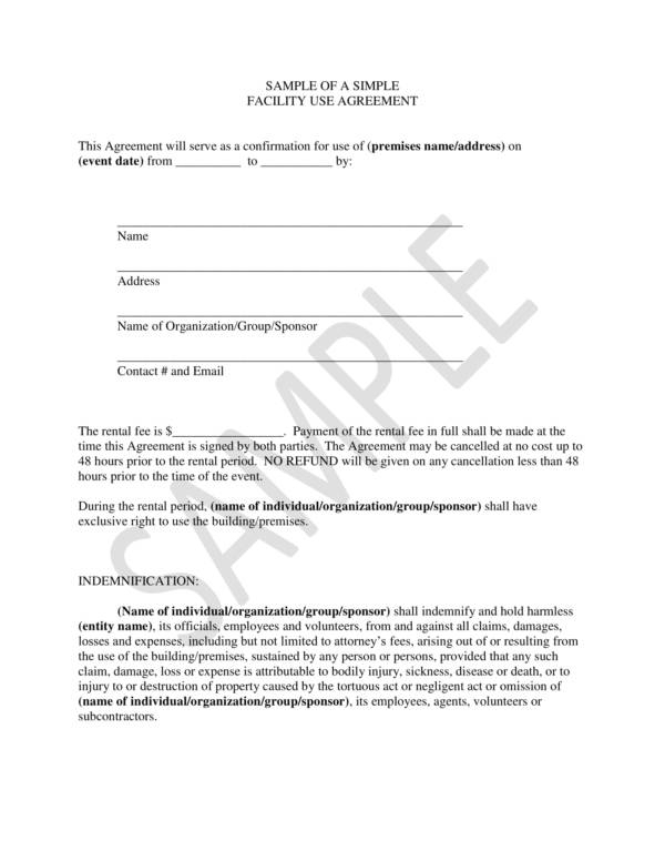 simple facility use sample agreement template 1