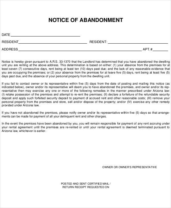 simple notice of abandonment template