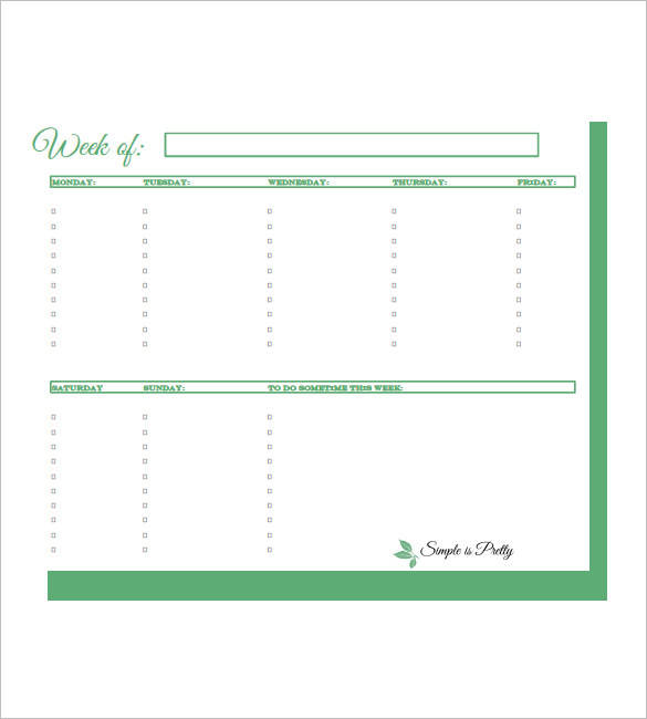 FREE 10+ Weekly Task Schedule Samples & Templates In PDF