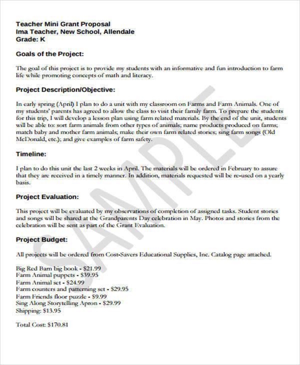 small grant writing sample