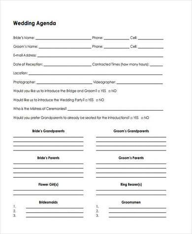 small wedding agenda