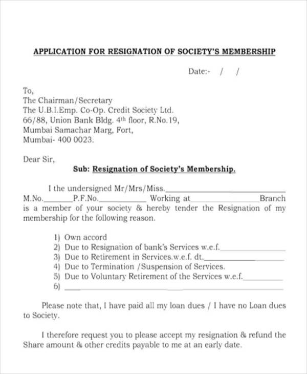 Sample Membership Resignation Letter – Quotes of the Day