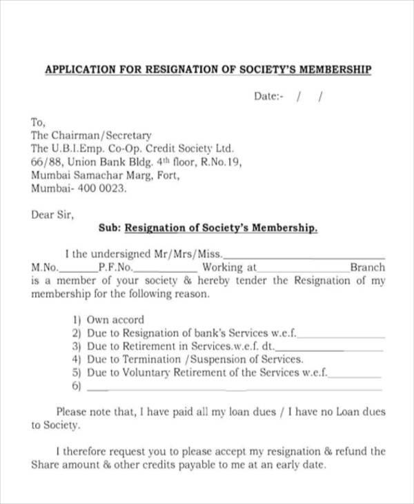society's membership resignation letter