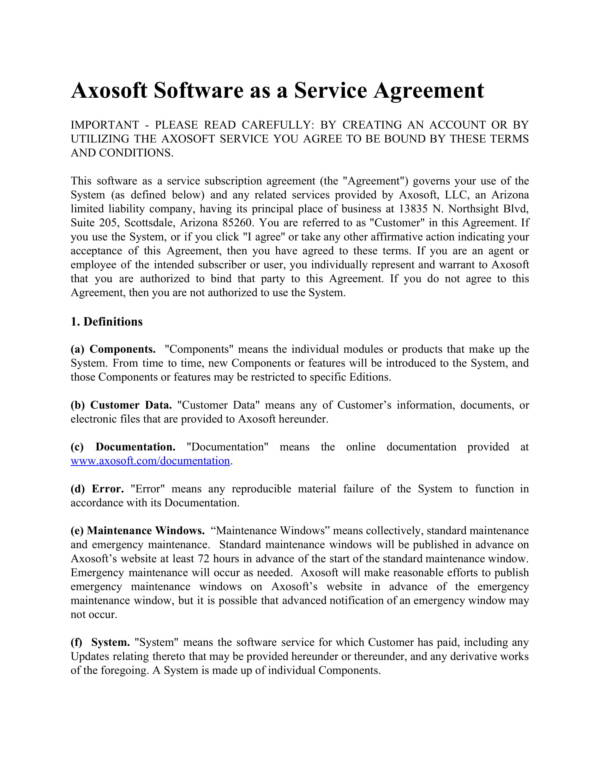 software service agreement 01