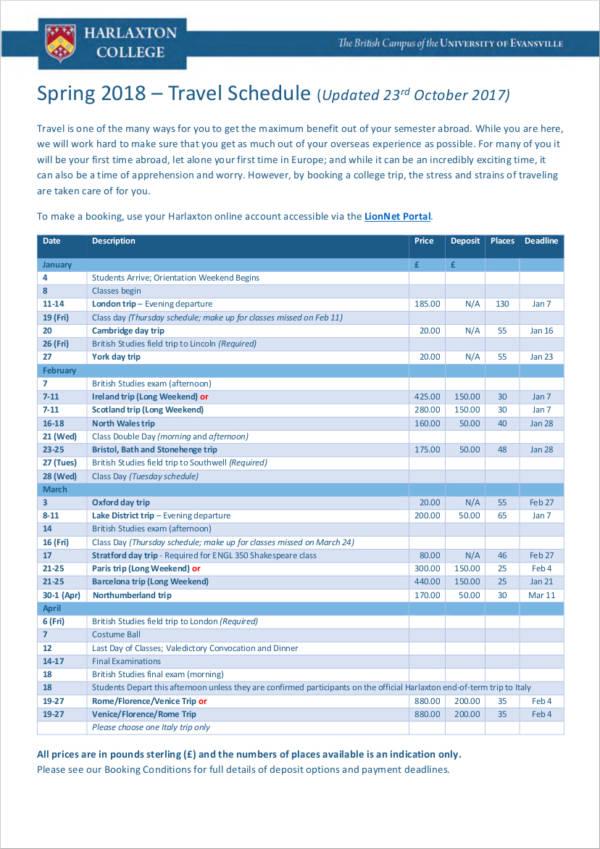 spring student travel schedule