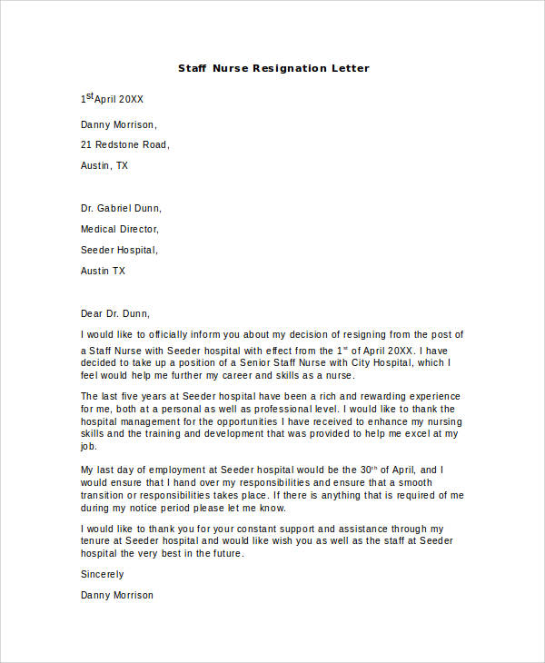 13 Nurse Resignation Letter Samples And Templates Pdf Word