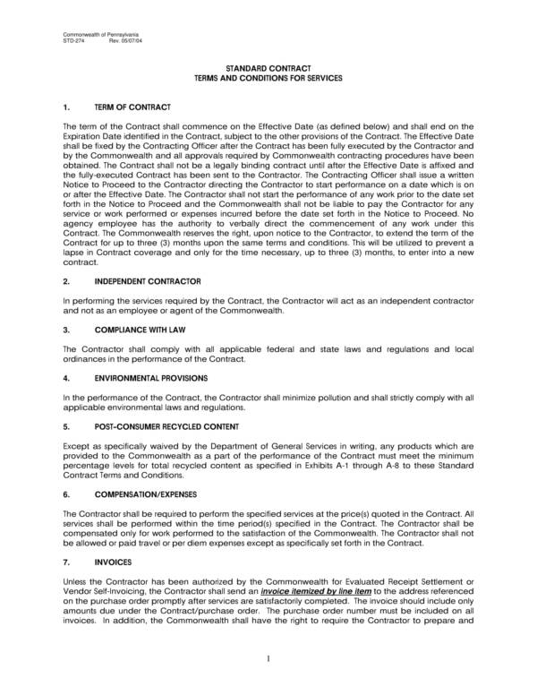 standard contract terms and conditions for services 01