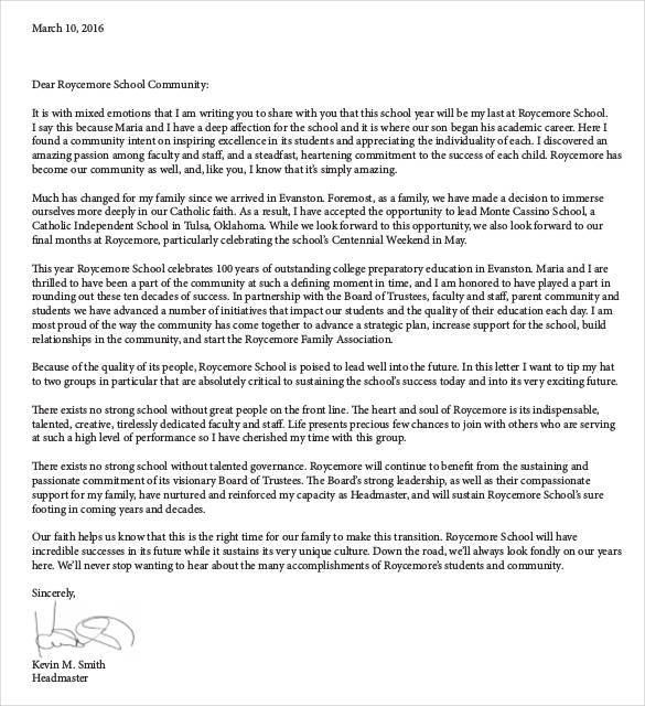 standard student resignation letter from school