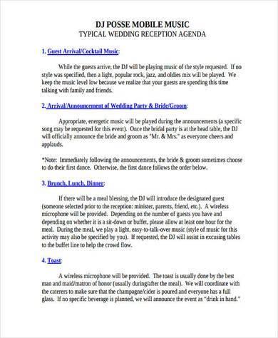 standard wedding agenda example