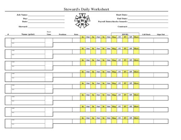 stewards daily worksheet