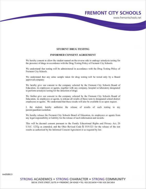 student drug testing informed consent agreement