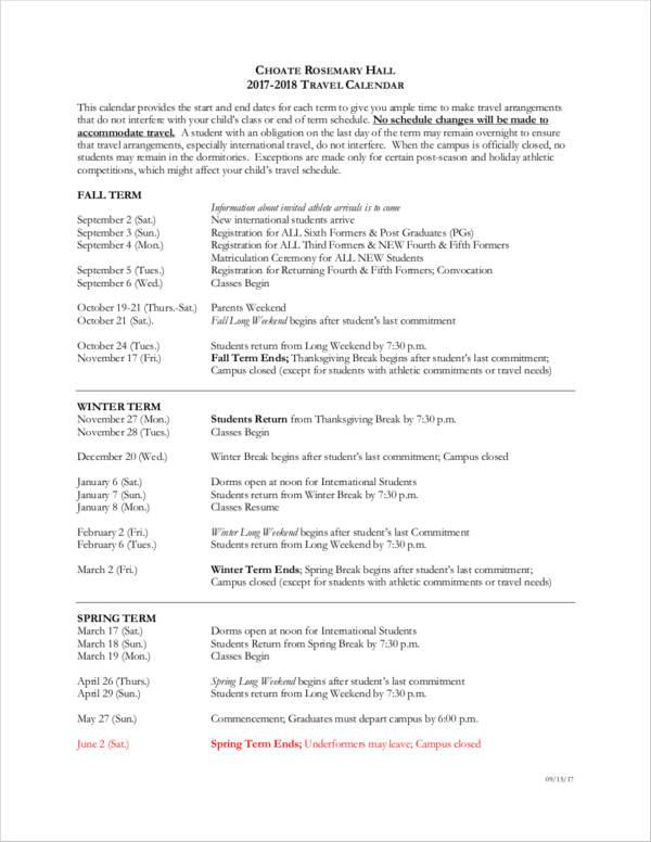 student travel schedule calendar