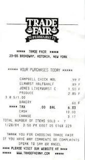 supermarket payment receipt sample