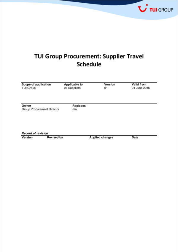 supplier travel schedule