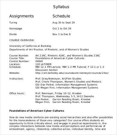 syllabus assignment schedule template