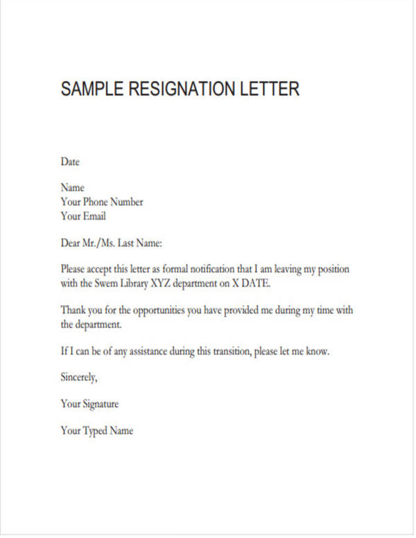 teacher resignation letter sample in pdf