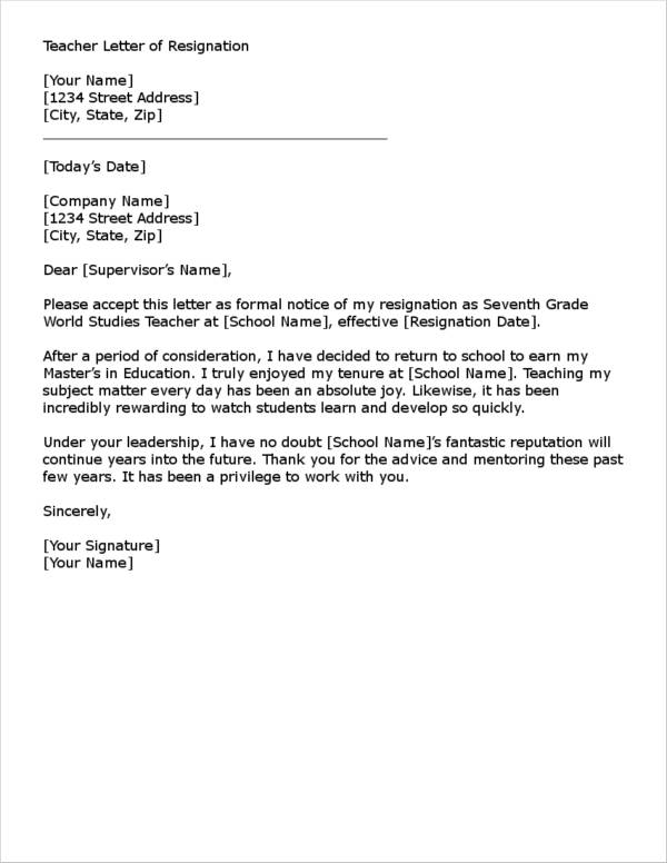 letter of resignation teacher 11 resignation letter samples and templates pdf 11173 | Teacher Resignation Letter in Word