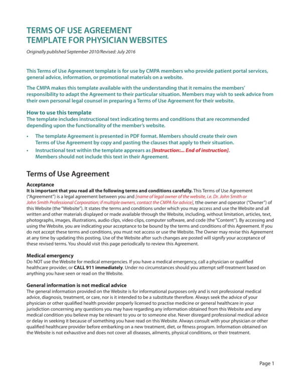 terms of use agreement template for physician webistes 1