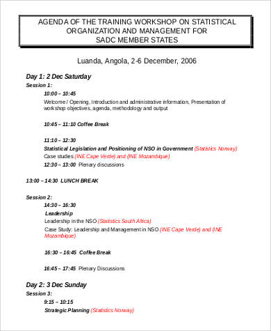 training workshop agenda sample