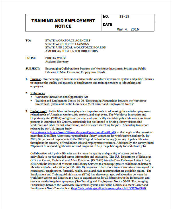 training and employment notice