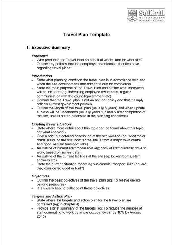 travel plan agenda template guide