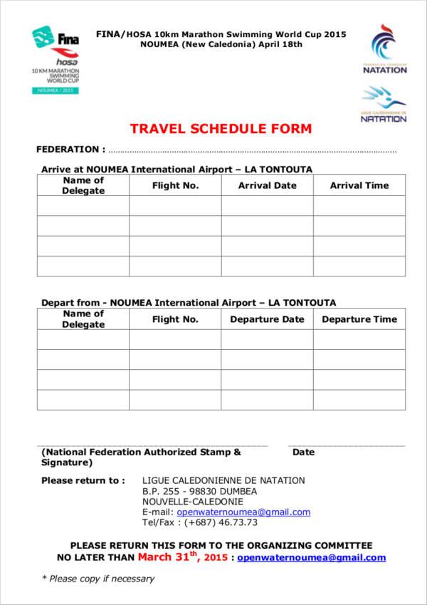 travel schedule form