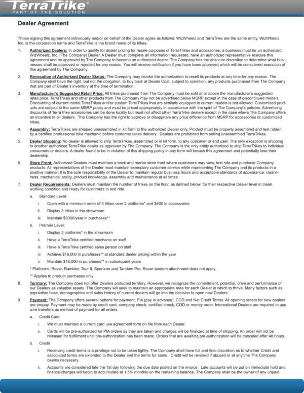 trike dealership agreement