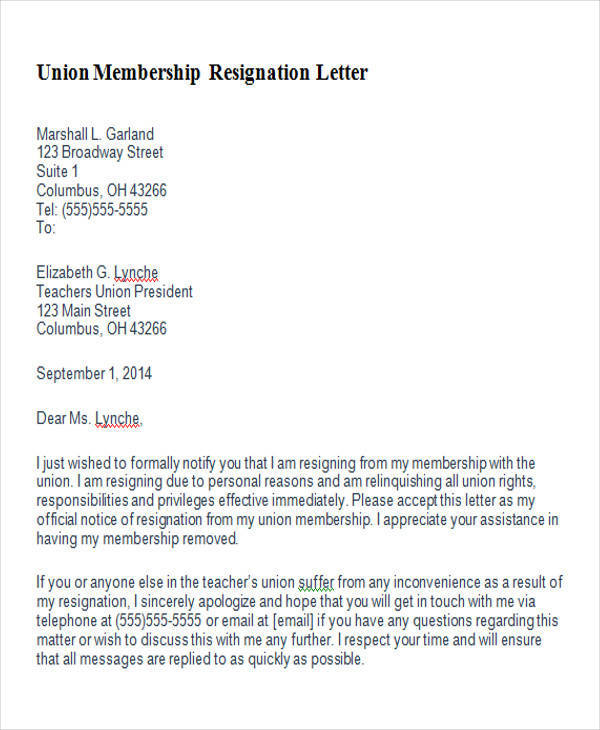 6  membership resignation letter samples and templates