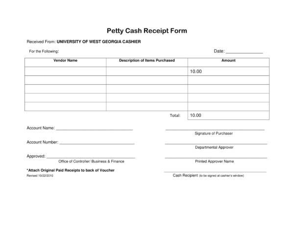university petty cash receipt form