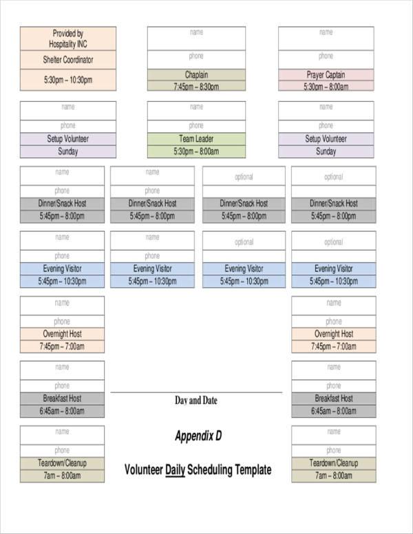 volunteer daily scheduling template