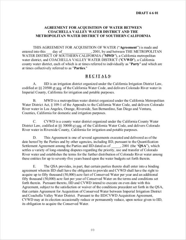 water acquisition agreement