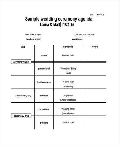 wedding ceremony agenda chart