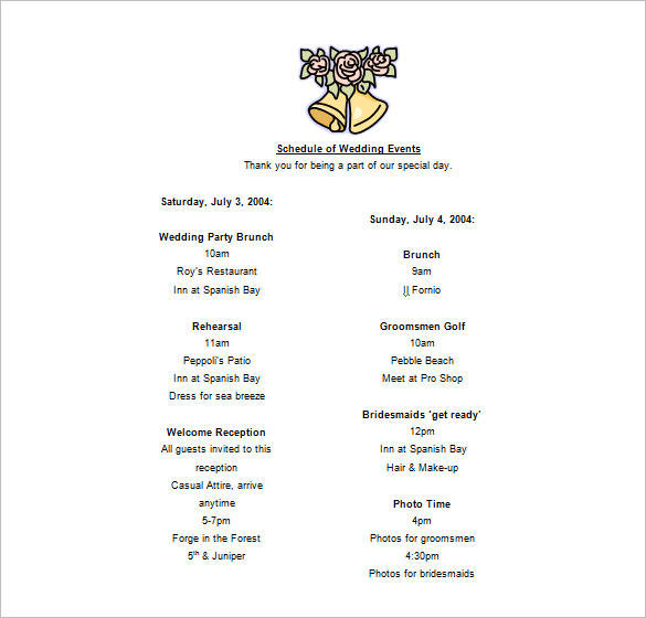 wedding party schedule of events