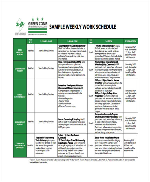 weekly job schedule