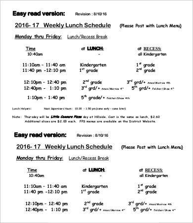 weekly lunch schedule template