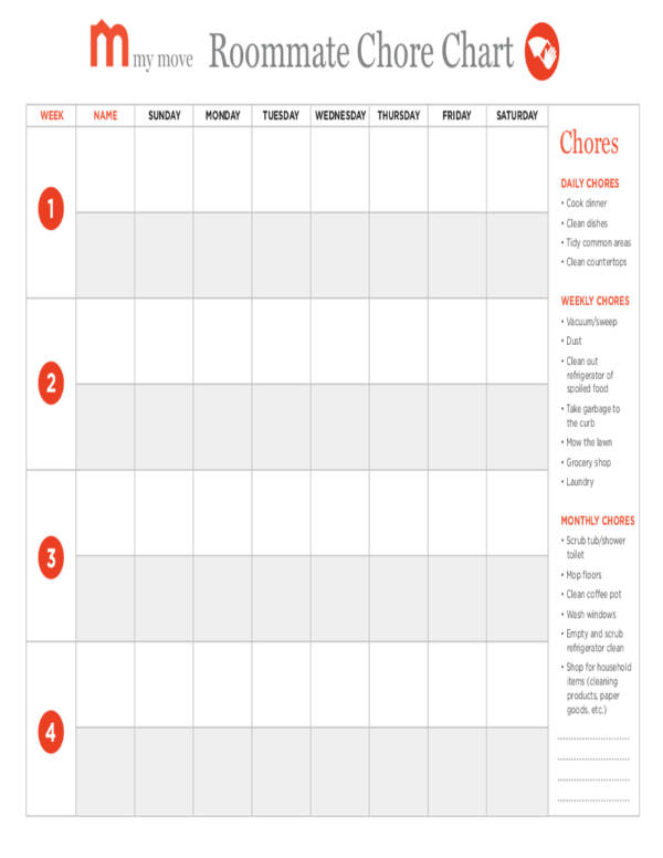 weekly roommate chore chart schedule