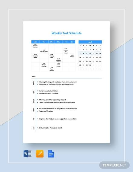 weekly task schedule template